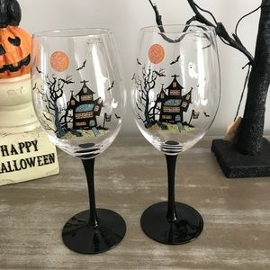 Other - Halloween Haunted House Stemmed Wine Glasses set 2